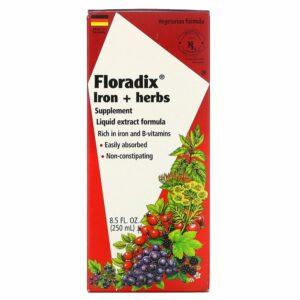 Flora, Floradix, תוסף תזונה צמחי + ברזל, נוסחת תמצית נוזלית, 250 מל (8.5 אונקיות נוזל)